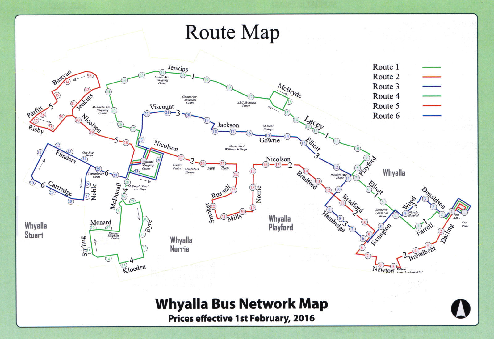 Whyalla Bus Service - Route Map